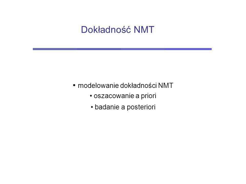 Dokładność NMT modelowanie dokładności NMT oszacowanie a priori badanie a posteriori