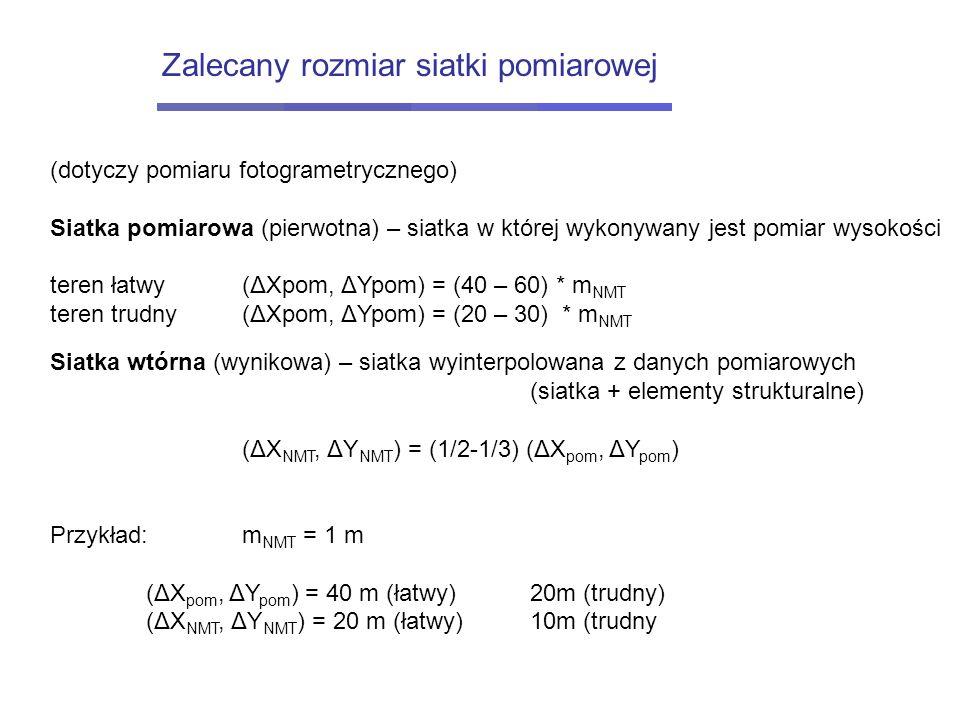 (dotyczy pomiaru fotogrametrycznego) Siatka pomiarowa (pierwotna) – siatka w której wykonywany jest pomiar wysokości teren łatwy(ΔXpom, ΔYpom) = (40 –
