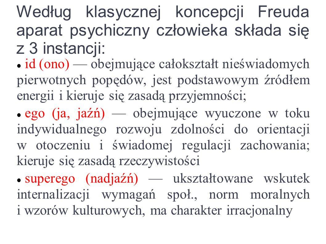 Siła napędowa działania Według klasycznej psychoanalizy gł.