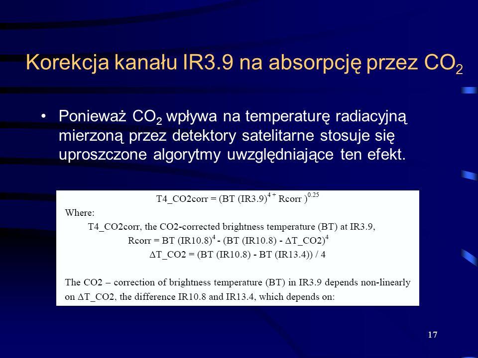 Korekcja kanału IR3.9 na absorpcję przez CO 2 Ponieważ CO 2 wpływa na temperaturę radiacyjną mierzoną przez detektory satelitarne stosuje się uproszczone algorytmy uwzględniające ten efekt.