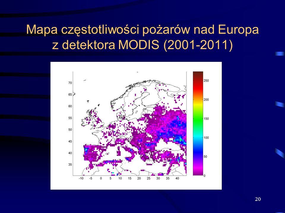Mapa częstotliwości pożarów nad Europa z detektora MODIS (2001-2011) 20