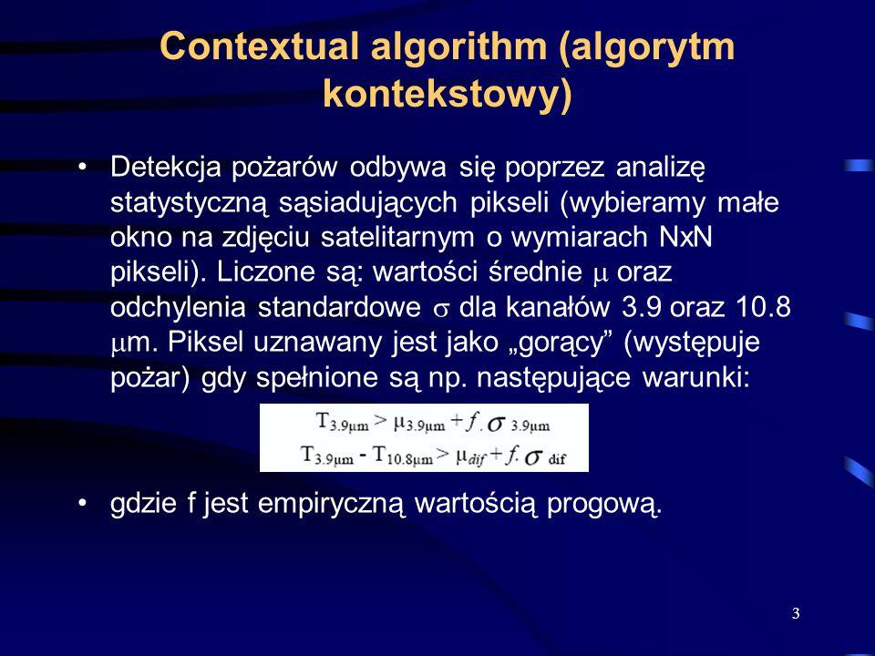 Contextual algorithm (algorytm kontekstowy) Detekcja pożarów odbywa się poprzez analizę statystyczną sąsiadujących pikseli (wybieramy małe okno na zdjęciu satelitarnym o wymiarach NxN pikseli).