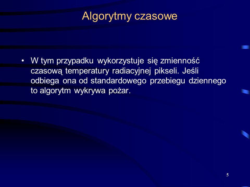 Algorytmy czasowe W tym przypadku wykorzystuje się zmienność czasową temperatury radiacyjnej pikseli.