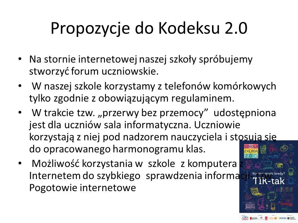 Propozycje do Kodeksu 2.0 Na stornie internetowej naszej szkoły spróbujemy stworzyć forum uczniowskie. W naszej szkole korzystamy z telefonów komórkow