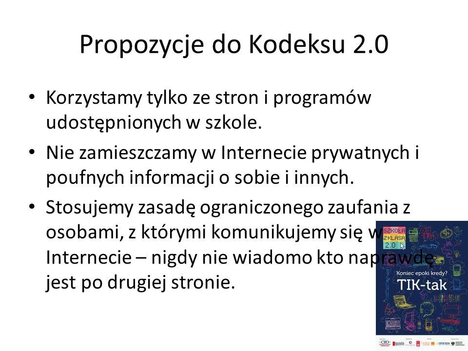 Propozycje do Kodeksu 2.0 Korzystamy tylko ze stron i programów udostępnionych w szkole. Nie zamieszczamy w Internecie prywatnych i poufnych informacj