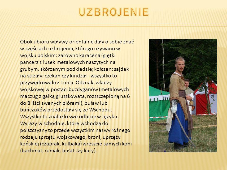 Obok ubioru wpływy orientalne dały o sobie znać w częściach uzbrojenia, którego używano w wojsku polskim: zarówno karacena (giętki pancerz z łusek met