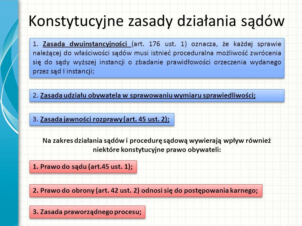 Konstytucyjne zasady działania sądów 1. Zasada dwuinstancyjności (art.