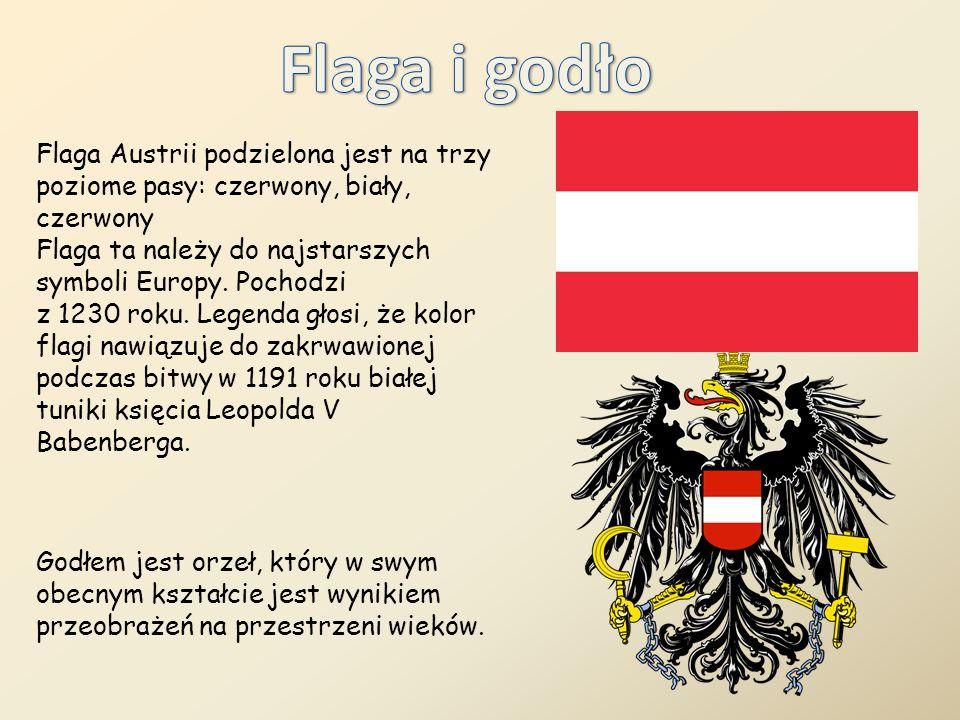 Flaga Austrii podzielona jest na trzy poziome pasy: czerwony, biały, czerwony Flaga ta należy do najstarszych symboli Europy. Pochodzi z 1230 roku. Le