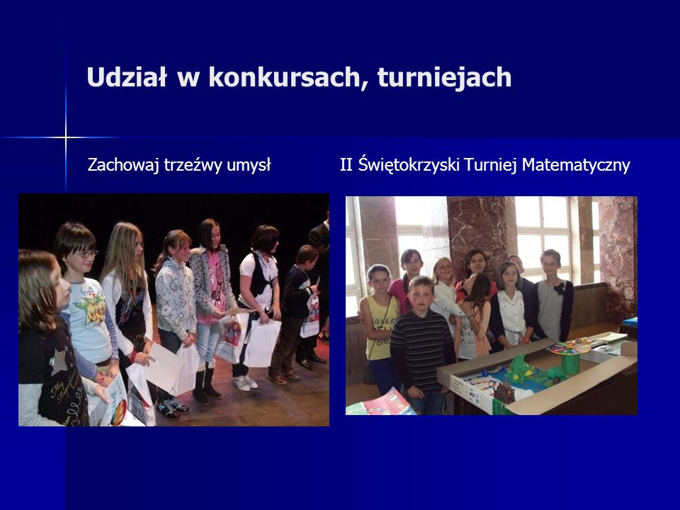 Udział w konkursach, turniejach Zachowaj trzeźwy umysł II Świętokrzyski Turniej Matematyczny