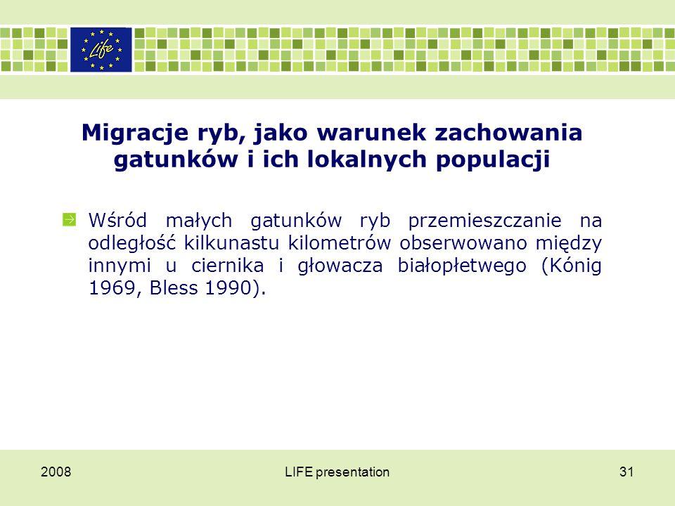 2008LIFE presentation31 Migracje ryb, jako warunek zachowania gatunków i ich lokalnych populacji Wśród małych gatunków ryb przemieszczanie na odległoś