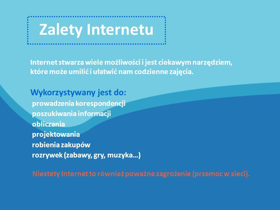 Zalety Internetu Internet stwarza wiele możliwości i jest ciekawym narzędziem, które może umilić i ułatwić nam codzienne zajęcia.