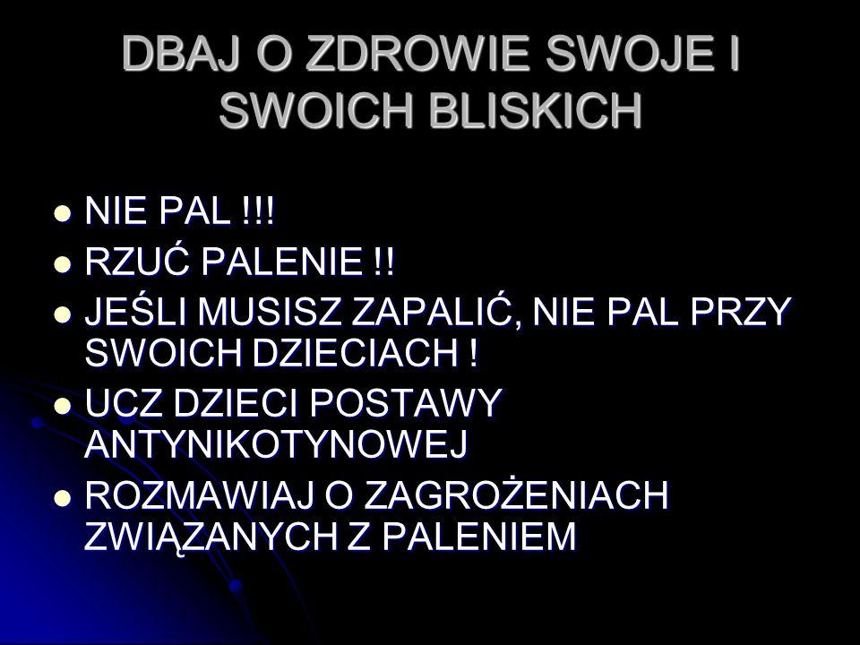 DBAJ O ZDROWIE SWOJE I SWOICH BLISKICH NIE PAL !!.