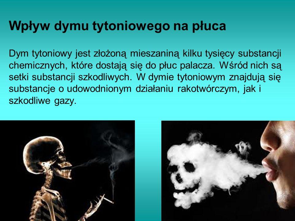 Wpływ dymu tytoniowego na płuca Dym tytoniowy jest złożoną mieszaniną kilku tysięcy substancji chemicznych, które dostają się do płuc palacza. Wśród n