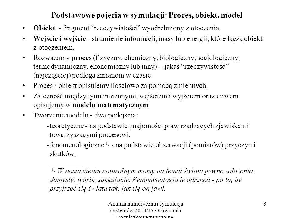 Analiza numeryczna i symulacja systemów 2014/15 - Równania różniczkowe zwyczajne 3 Podstawowe pojęcia w symulacji: Proces, obiekt, model Obiekt - fragment rzeczywistości wyodrębniony z otoczenia.