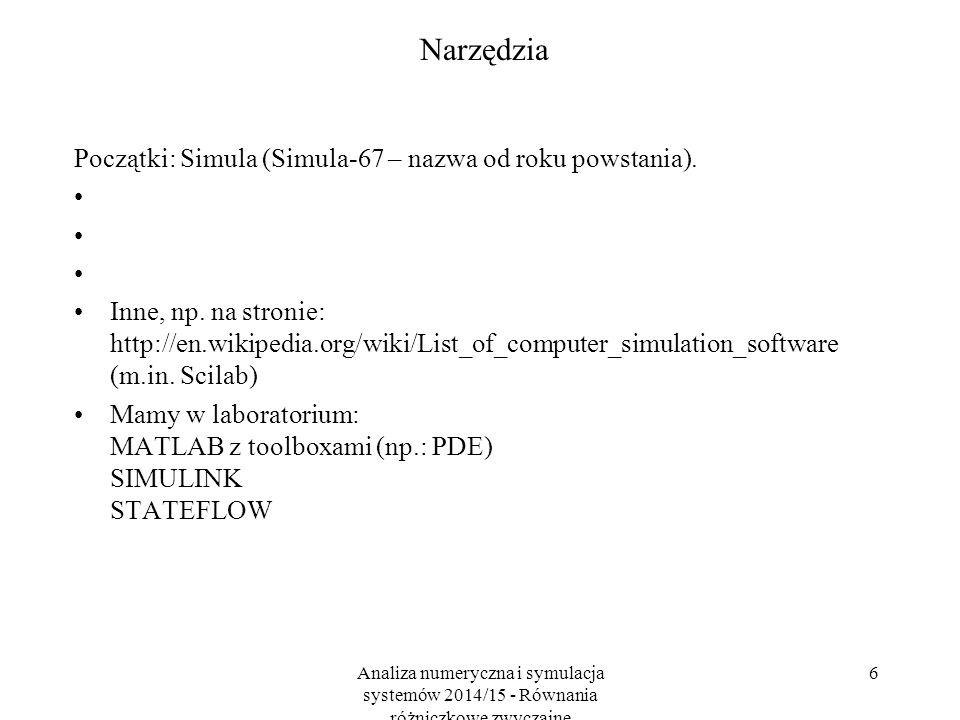 Analiza numeryczna i symulacja systemów 2014/15 - Równania różniczkowe zwyczajne 6 Narzędzia Początki: Simula (Simula-67 – nazwa od roku powstania).