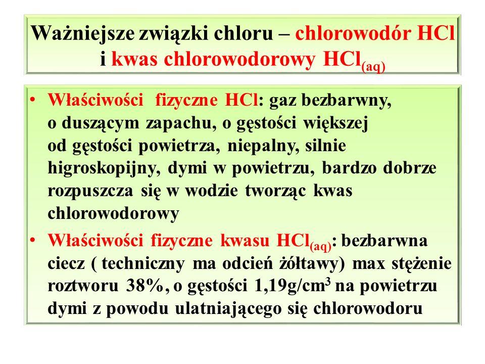Ważniejsze związki chloru – chlorowodór HCl i kwas chlorowodorowy HCl (aq) Właściwości fizyczne HCl: gaz bezbarwny, o duszącym zapachu, o gęstości wię