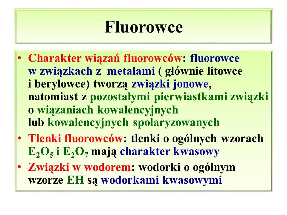 Fluorowce Charakter wiązań fluorowców: fluorowce w związkach z metalami ( głównie litowce i berylowce) tworzą związki jonowe, natomiast z pozostałymi