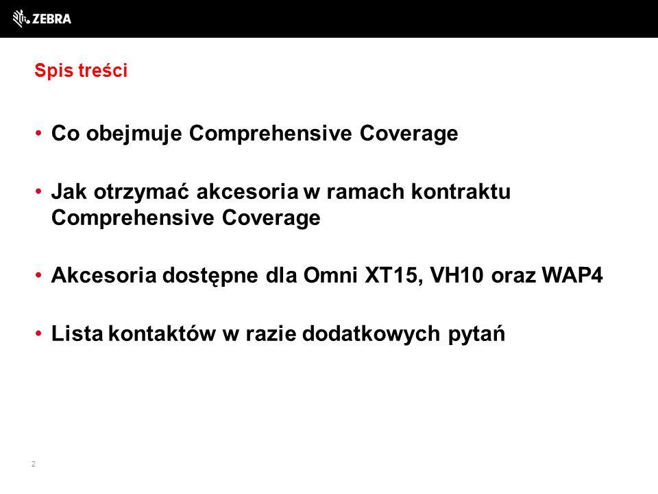 Spis treści Co obejmuje Comprehensive Coverage Jak otrzymać akcesoria w ramach kontraktu Comprehensive Coverage Akcesoria dostępne dla Omni XT15, VH10 oraz WAP4 Lista kontaktów w razie dodatkowych pytań 2