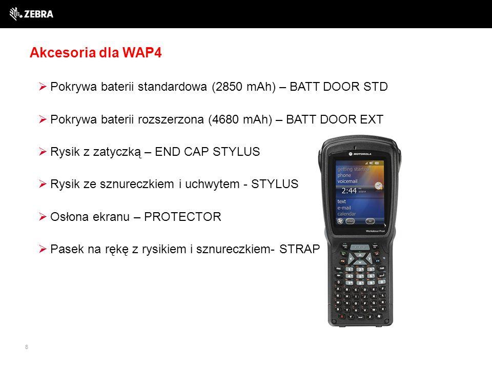 6 Akcesoria dla WAP4  Pokrywa baterii standardowa (2850 mAh) – BATT DOOR STD  Pokrywa baterii rozszerzona (4680 mAh) – BATT DOOR EXT  Rysik z zatyczką – END CAP STYLUS  Rysik ze sznureczkiem i uchwytem - STYLUS  Osłona ekranu – PROTECTOR  Pasek na rękę z rysikiem i sznureczkiem- STRAP