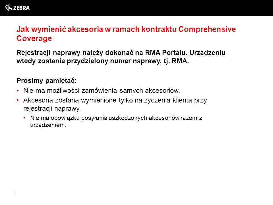 7 Jak wymienić akcesoria w ramach kontraktu Comprehensive Coverage Rejestracji naprawy należy dokonać na RMA Portalu.