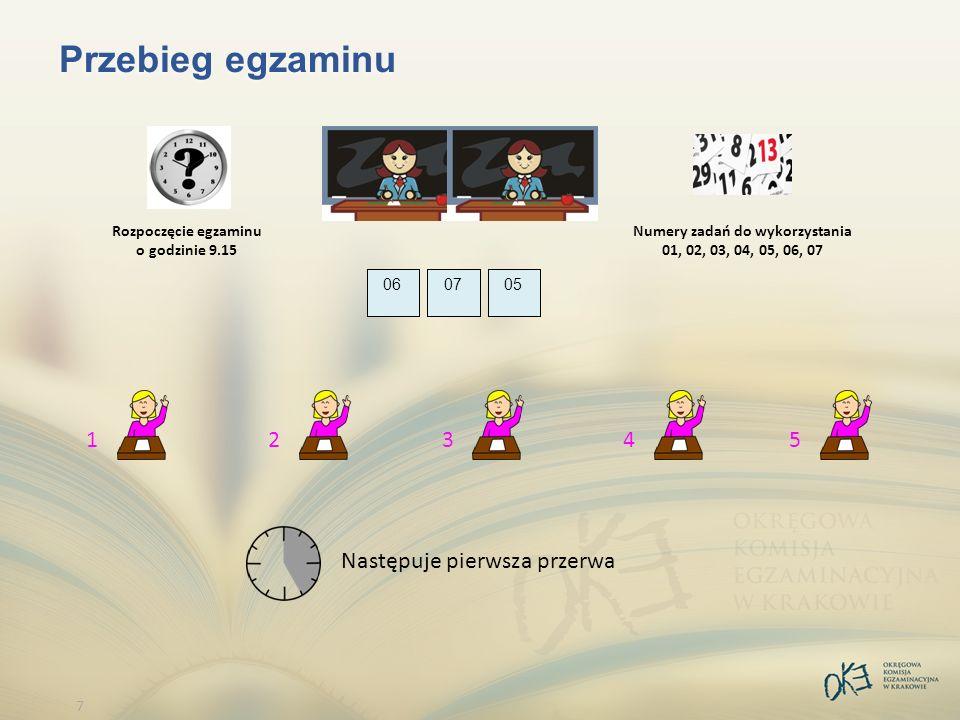 7 Przebieg egzaminu 010203 1 04 2 05 3 06 4 07 5 Rozpoczęcie egzaminu o godzinie 9.15 Następuje pierwsza przerwa Numery zadań do wykorzystania 01, 02, 03, 04, 05, 06, 07