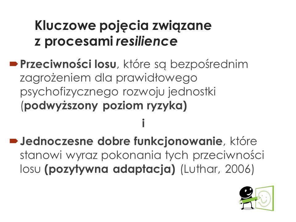 Kluczowe pojęcia związane z procesami resilience  Przeciwności losu, które są bezpośrednim zagrożeniem dla prawidłowego psychofizycznego rozwoju jednostki ( podwyższony poziom ryzyka) i  Jednoczesne dobre funkcjonowanie, które stanowi wyraz pokonania tych przeciwności losu (pozytywna adaptacja) (Luthar, 2006)