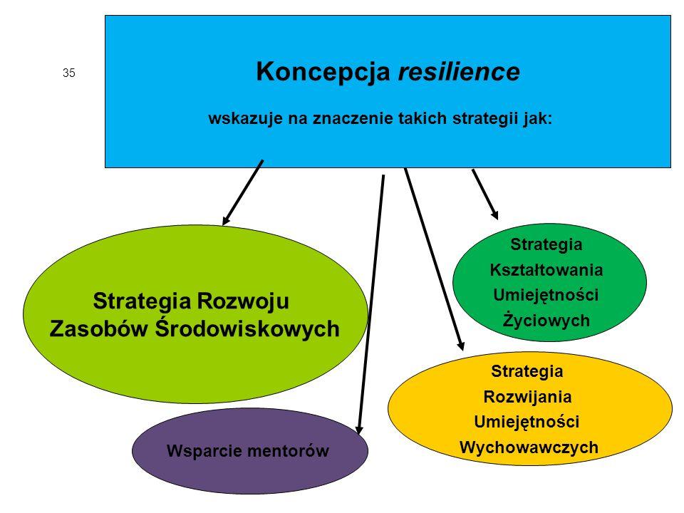 35 Koncepcja resilience wskazuje na znaczenie takich strategii jak: Strategia Rozwoju Zasobów Środowiskowych Strategia Kształtowania Umiejętności Życiowych Strategia Rozwijania Umiejętności Wychowawczych Wsparcie mentorów