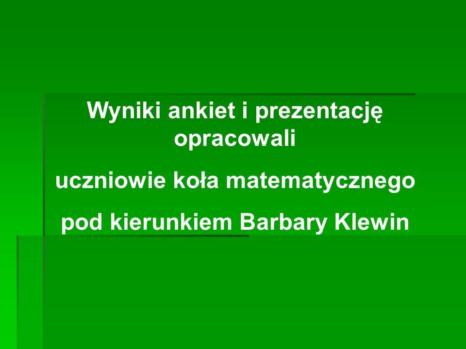 Wyniki ankiet i prezentację opracowali uczniowie koła matematycznego pod kierunkiem Barbary Klewin