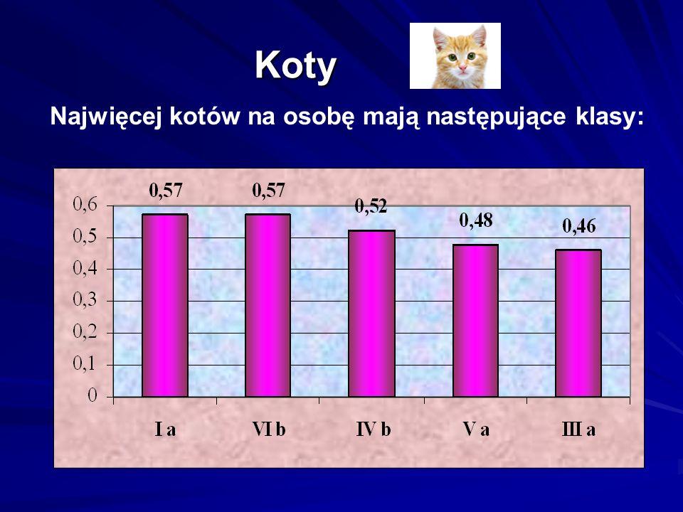 Koty Koty Najwięcej kotów na osobę mają następujące klasy: