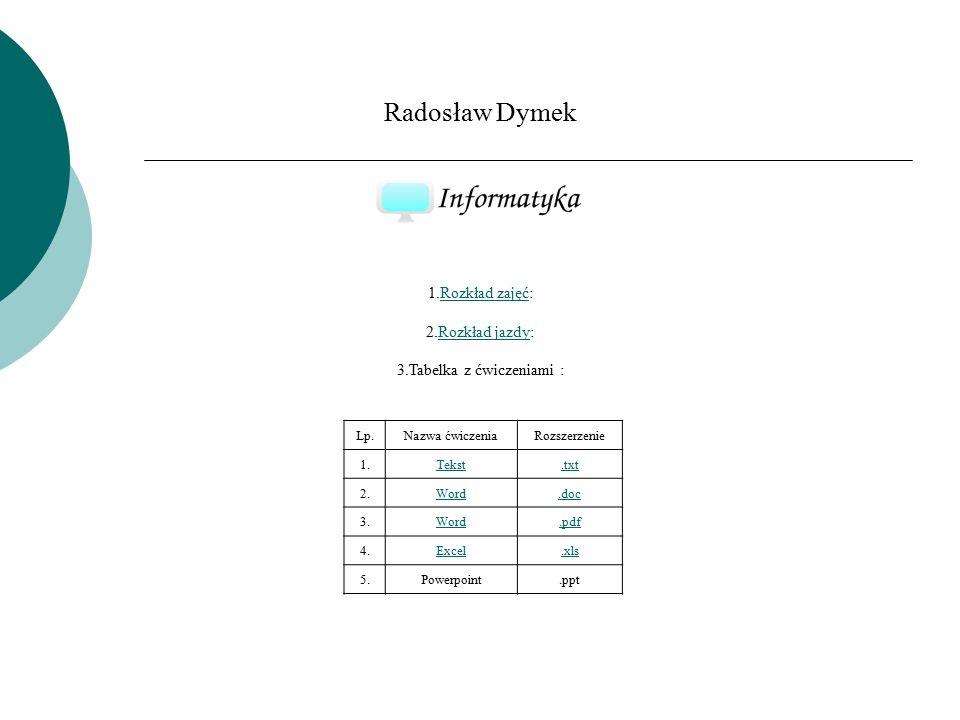 Radosław Dymek 1.Rozkład zajęć: 2.Rozkład jazdy: 3.Tabelka z ćwiczeniami :Rozkład zajęćRozkład jazdy Lp.Nazwa ćwiczeniaRozszerzenie 1.Tekst.txt 2.Word.doc 3.Word.pdf 4.Excel.xls 5.Powerpoint.ppt