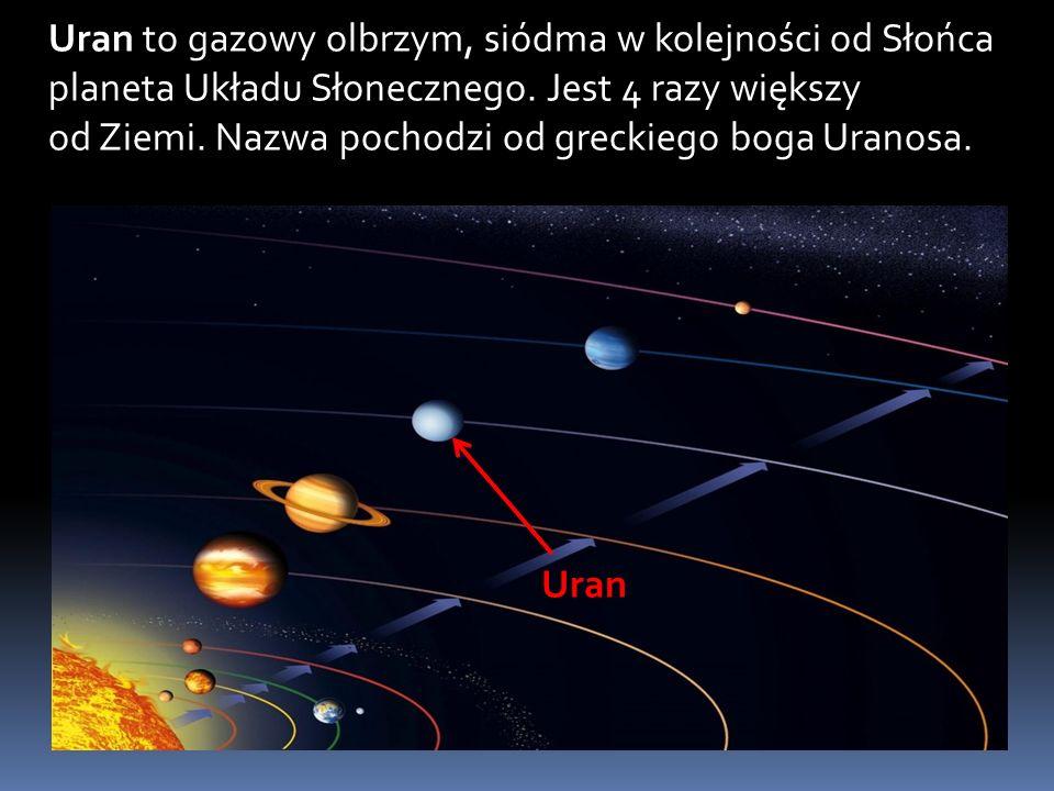 Uran to gazowy olbrzym, siódma w kolejności od Słońca planeta Układu Słonecznego.