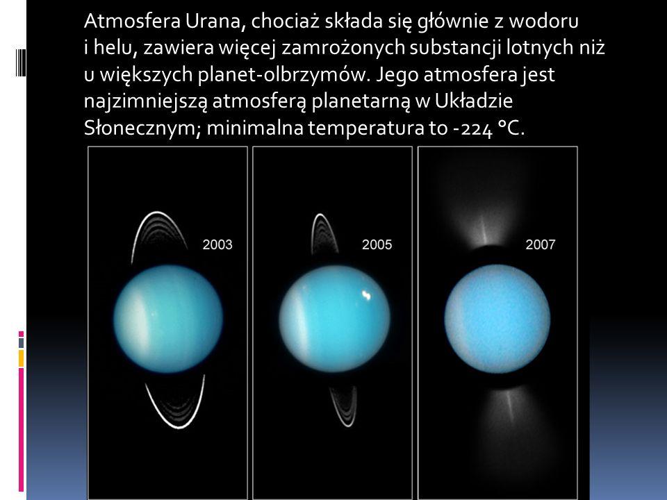 Atmosfera Urana, chociaż składa się głównie z wodoru i helu, zawiera więcej zamrożonych substancji lotnych niż u większych planet-olbrzymów.