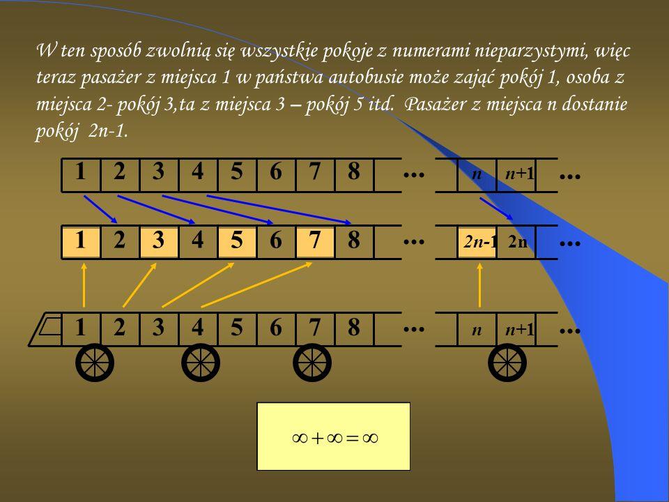 ... 1 2 3 4 5 6 7 8 n n+1... 1 2 3 4 5 6 7 8 2n-1 2n... 1 2 3 4 5 6 7 8 n n+1... W ten sposób zwolnią się wszystkie pokoje z numerami nieparzystymi, w