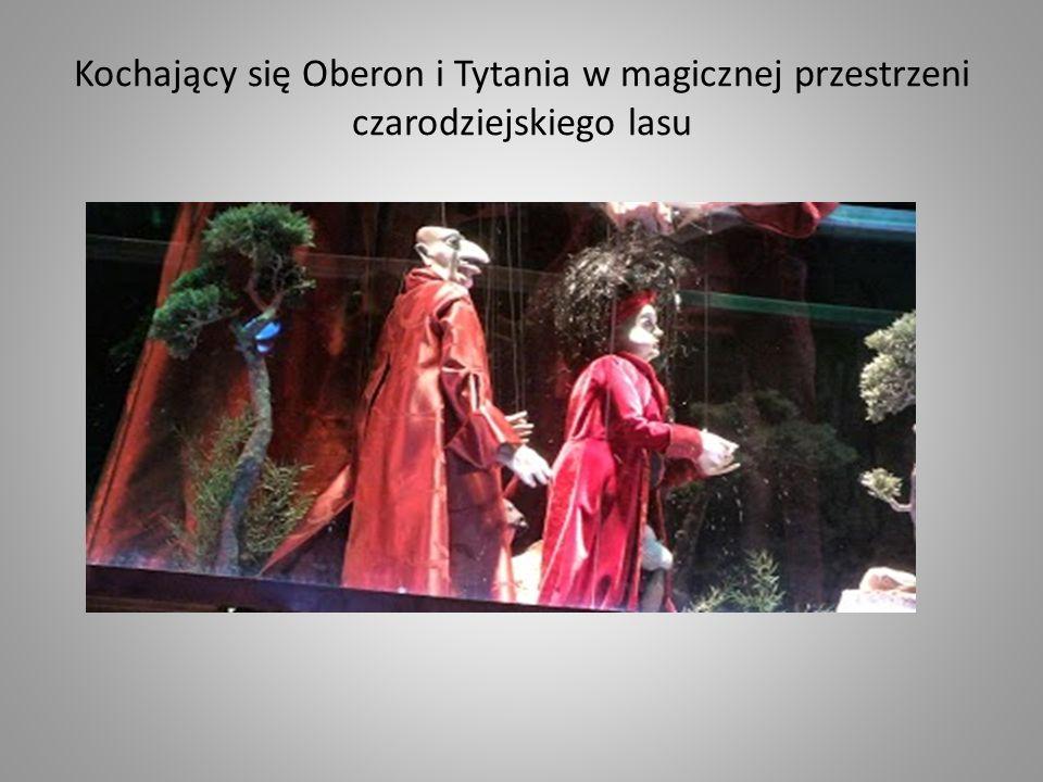 Kochający się Oberon i Tytania w magicznej przestrzeni czarodziejskiego lasu