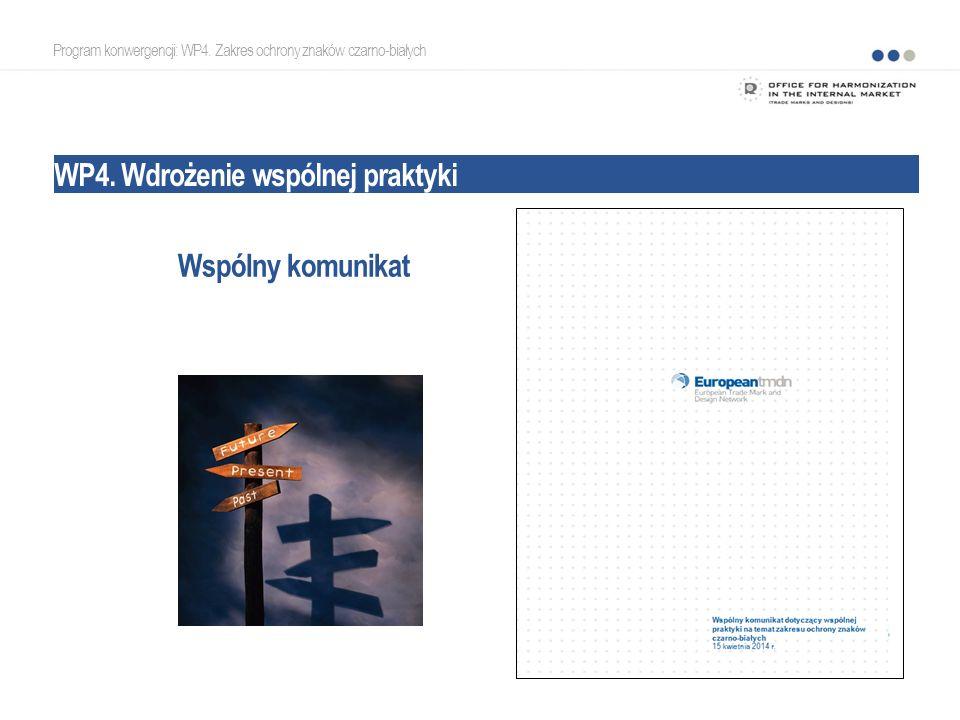Program konwergencji: WP4. Zakres ochrony znaków czarno-białych WP4. Wdrożenie wspólnej praktyki Wspólny komunikat