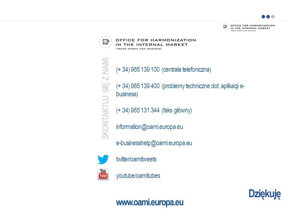 Dziękuję (+ 34) 965 139 100 (centrala telefoniczna) (+ 34) 965 139 400 (problemy techniczne dot. aplikacji e- business) (+ 34) 965 131 344 (faks główn