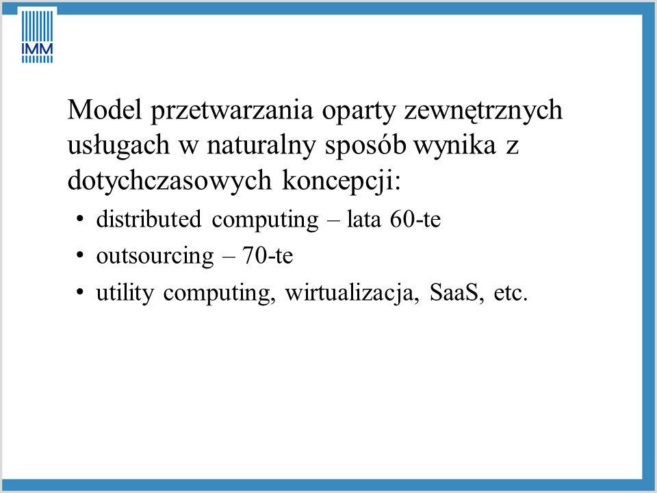 Model przetwarzania oparty zewnętrznych usługach w naturalny sposób wynika z dotychczasowych koncepcji: distributed computing – lata 60-te outsourcing – 70-te utility computing, wirtualizacja, SaaS, etc.