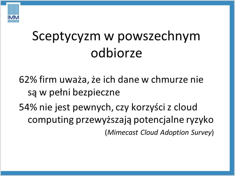 Sceptycyzm w powszechnym odbiorze 62% firm uważa, że ich dane w chmurze nie są w pełni bezpieczne 54% nie jest pewnych, czy korzyści z cloud computing przewyższają potencjalne ryzyko (Mimecast Cloud Adoption Survey)