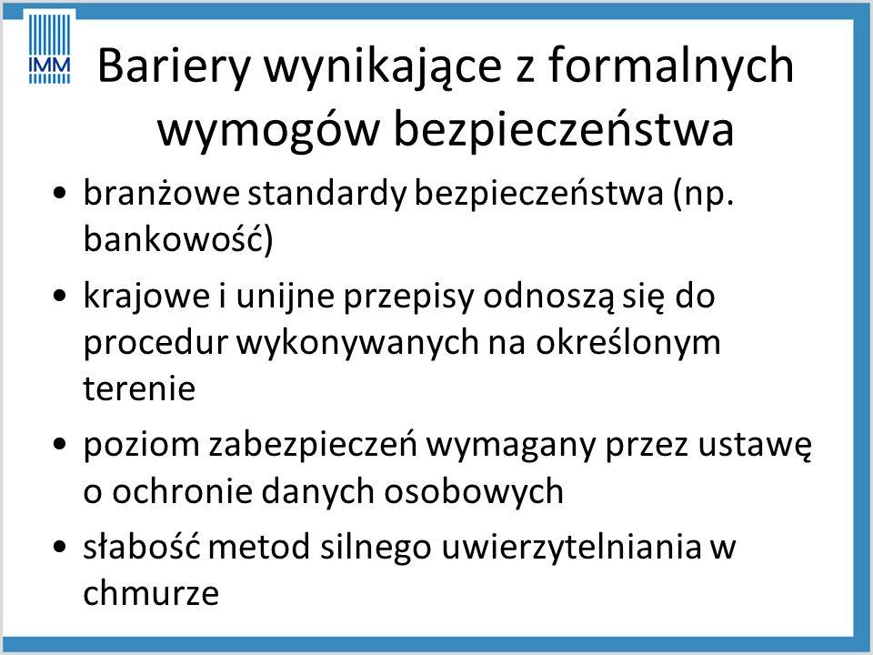 Bariery wynikające z formalnych wymogów bezpieczeństwa branżowe standardy bezpieczeństwa (np.