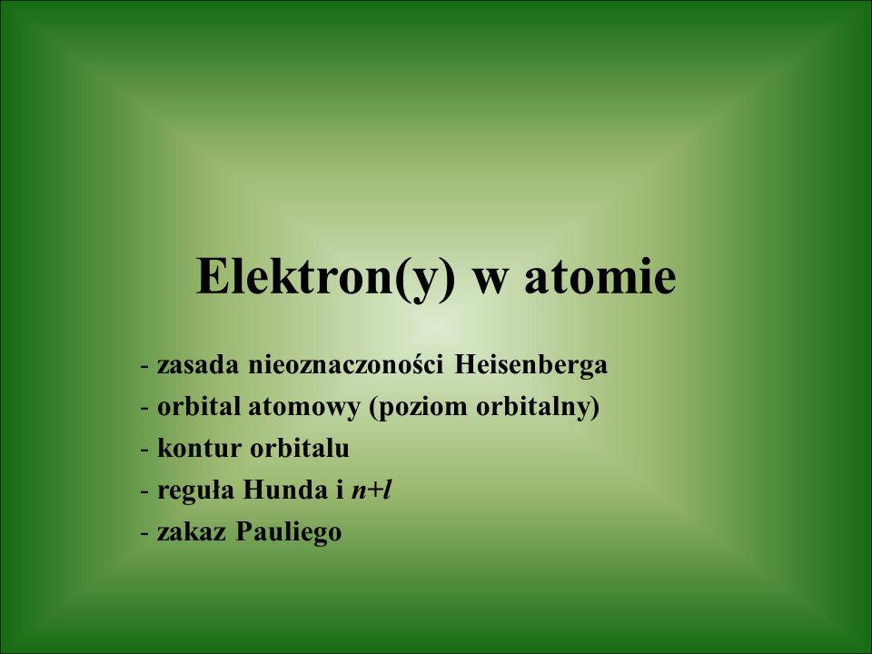 Elektron(y) w atomie - zasada nieoznaczoności Heisenberga - orbital atomowy (poziom orbitalny) - kontur orbitalu - reguła Hunda i n+l - zakaz Pauliego