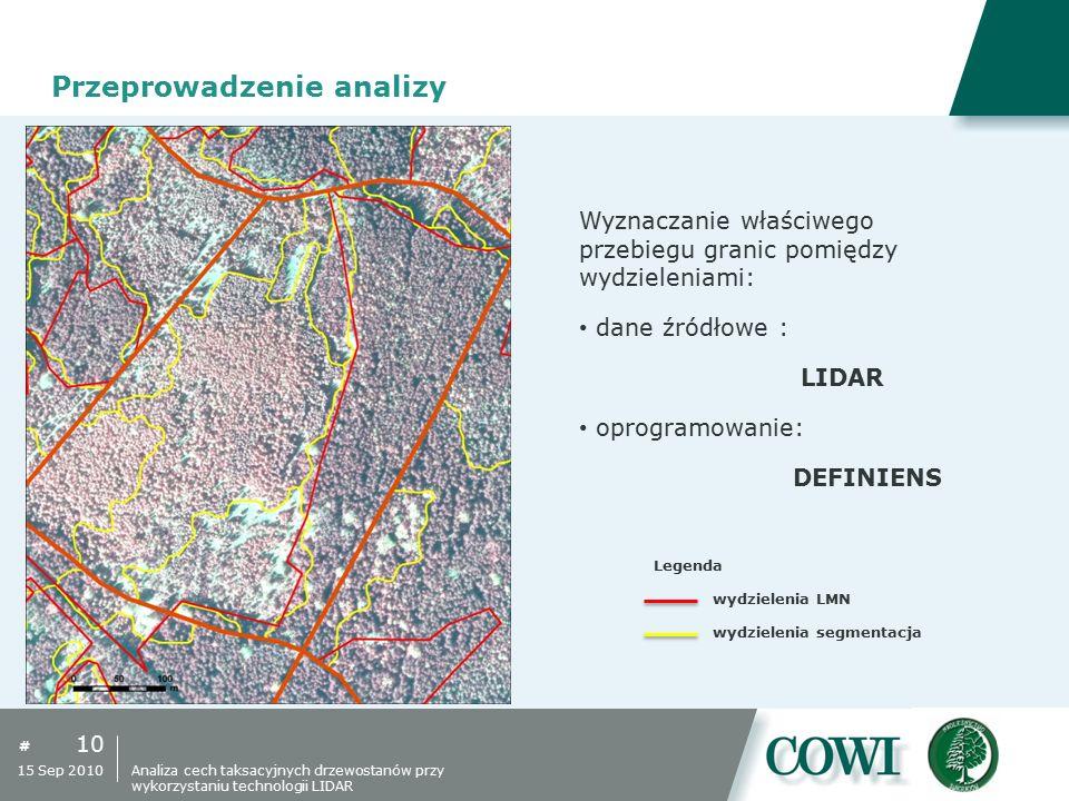 # 10 15 Sep 2010 Przeprowadzenie analizy Wyznaczanie właściwego przebiegu granic pomiędzy wydzieleniami: dane źródłowe : LIDAR oprogramowanie: DEFINIE
