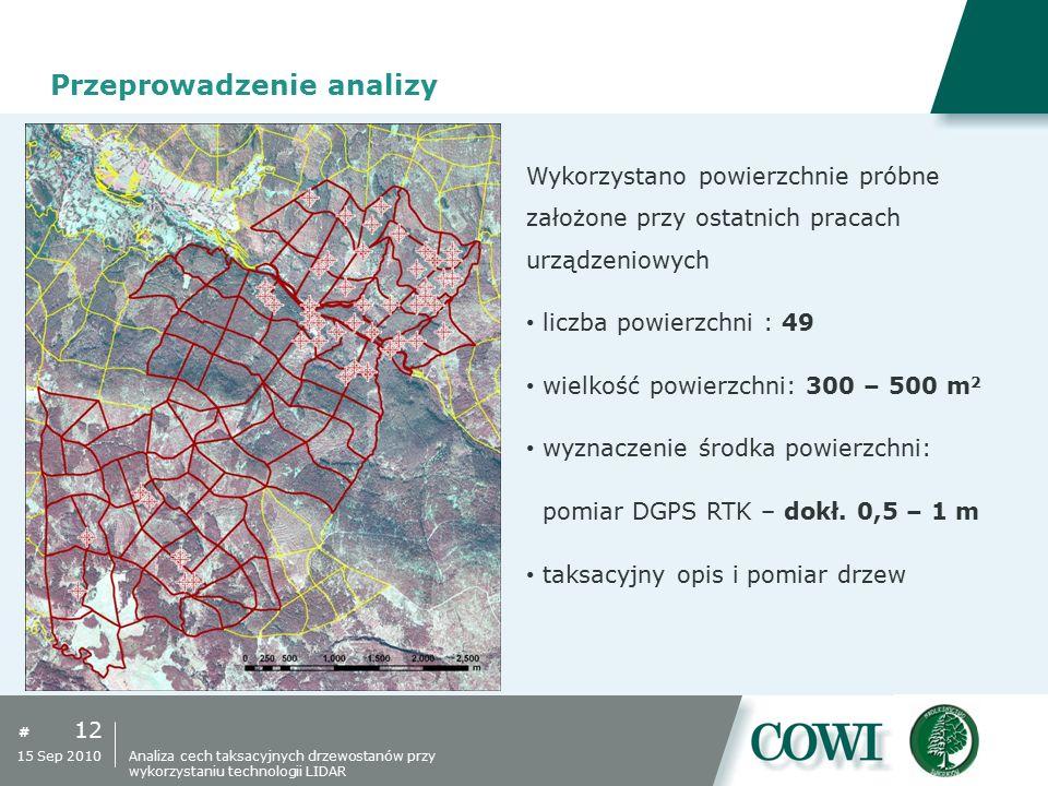 # 12 15 Sep 2010 Przeprowadzenie analizy Wykorzystano powierzchnie próbne założone przy ostatnich pracach urządzeniowych liczba powierzchni : 49 wielk