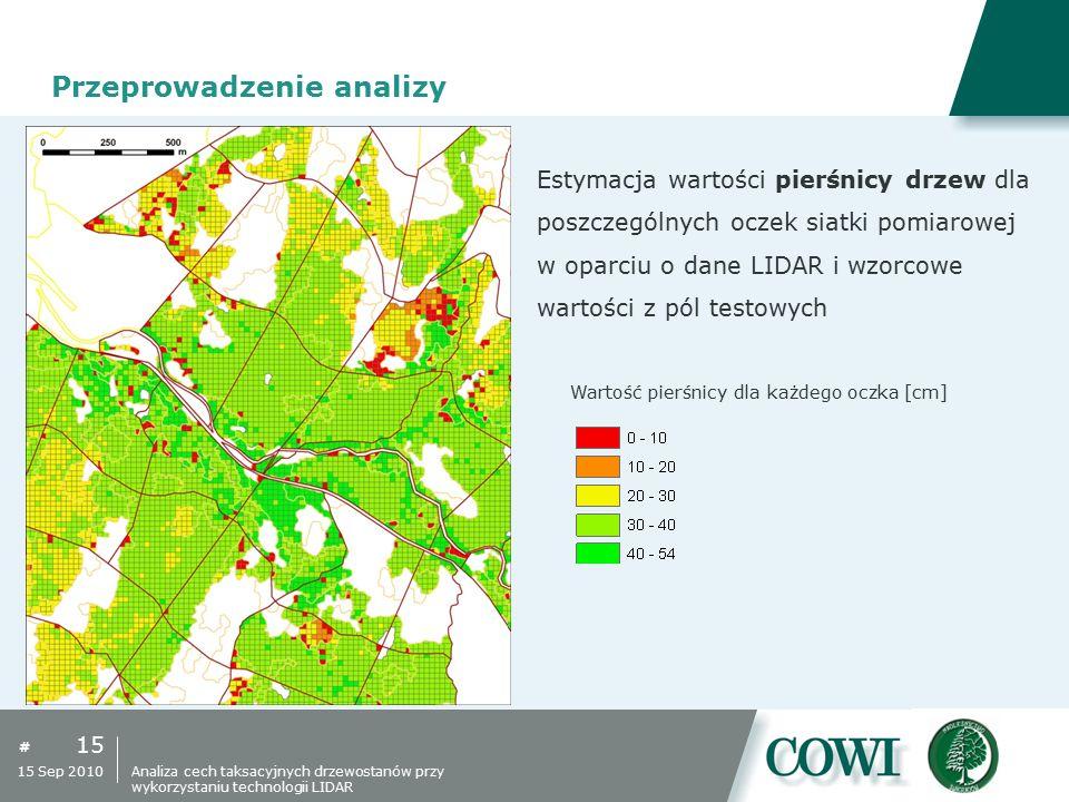 # 15 15 Sep 2010 Przeprowadzenie analizy Estymacja wartości pierśnicy drzew dla poszczególnych oczek siatki pomiarowej w oparciu o dane LIDAR i wzorco