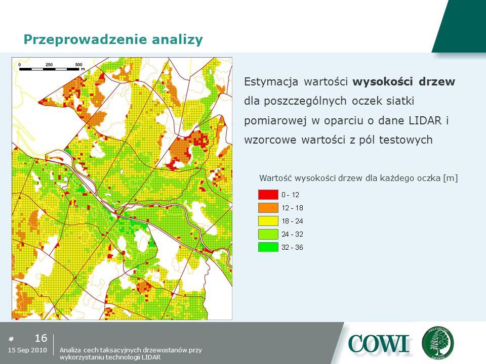 # 16 15 Sep 2010 Przeprowadzenie analizy Estymacja wartości wysokości drzew dla poszczególnych oczek siatki pomiarowej w oparciu o dane LIDAR i wzorco