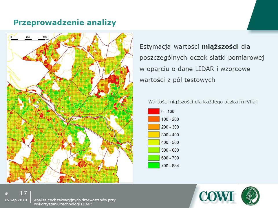 # 17 15 Sep 2010 Przeprowadzenie analizy Estymacja wartości miąższości dla poszczególnych oczek siatki pomiarowej w oparciu o dane LIDAR i wzorcowe wa