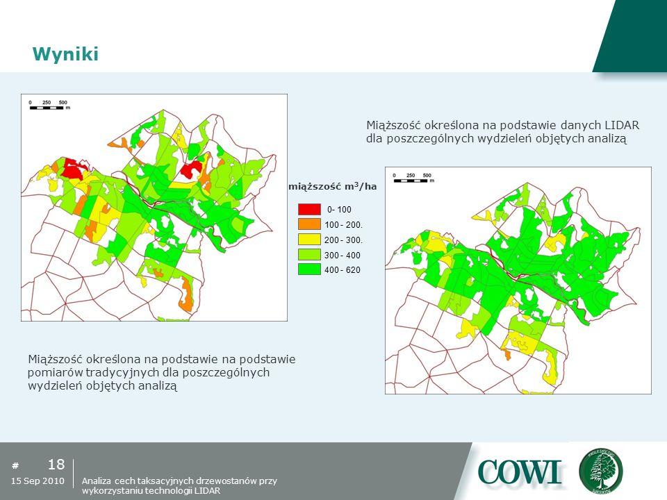 # Wyniki 18 15 Sep 2010 Miąższość określona na podstawie danych LIDAR dla poszczególnych wydzieleń objętych analizą Miąższość określona na podstawie n