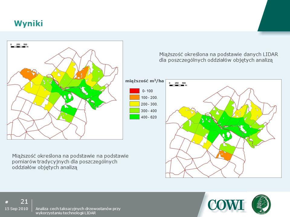 # Wyniki 21 15 Sep 2010 Miąższość określona na podstawie danych LIDAR dla poszczególnych oddziałów objętych analizą Miąższość określona na podstawie n