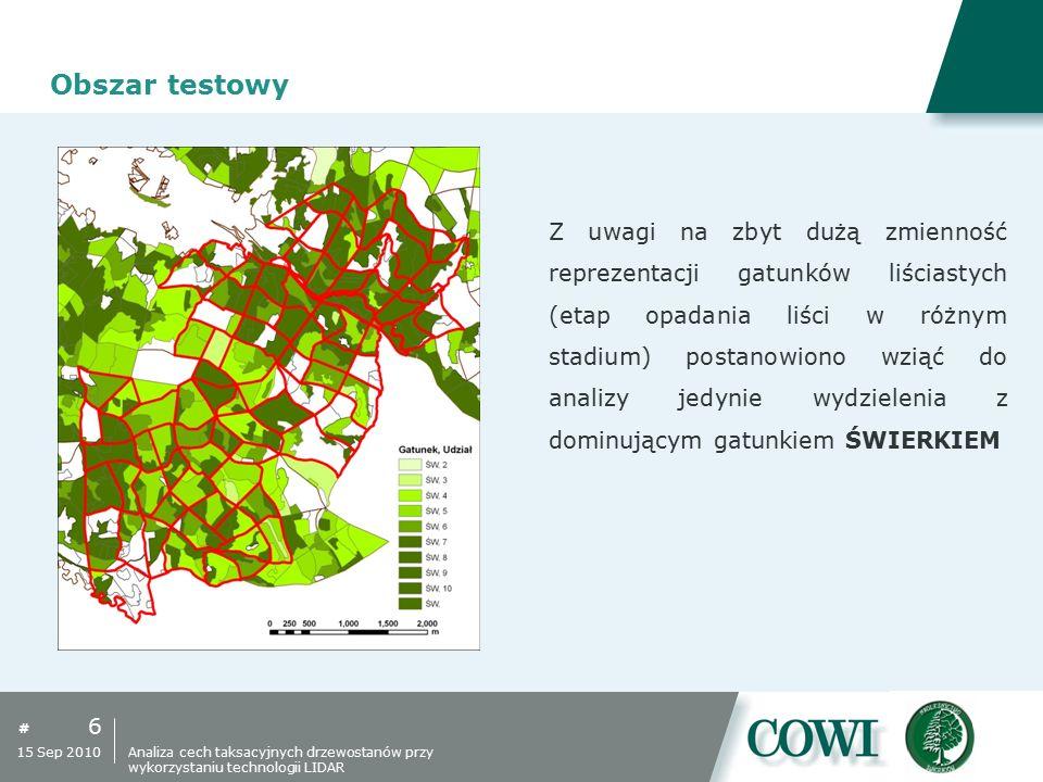 # Obszar testowy 6 15 Sep 2010 Z uwagi na zbyt dużą zmienność reprezentacji gatunków liściastych (etap opadania liści w różnym stadium) postanowiono w