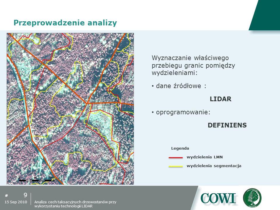 # 9 15 Sep 2010 Przeprowadzenie analizy Wyznaczanie właściwego przebiegu granic pomiędzy wydzieleniami: dane źródłowe : LIDAR oprogramowanie: DEFINIEN