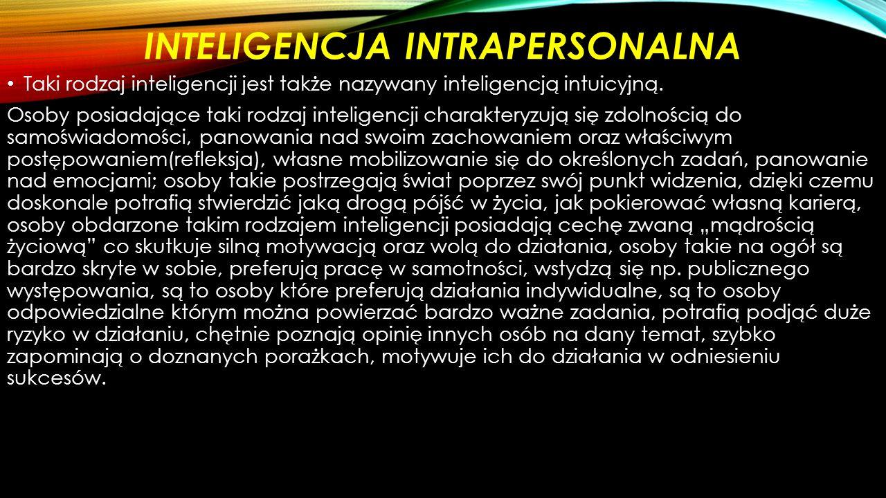 INTELIGENCJA INTRAPERSONALNA Taki rodzaj inteligencji jest także nazywany inteligencją intuicyjną.